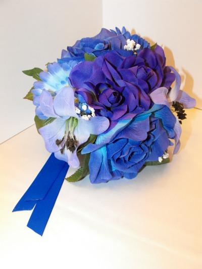 Royal blue white silver gold wedding color scheme bridal flower royal blue wedding bouquets on royal blue items wedding blue bouquet bridesmaids ceremony diy mightylinksfo