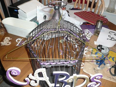 wedding card box cards birdcage gold purple diy Cards