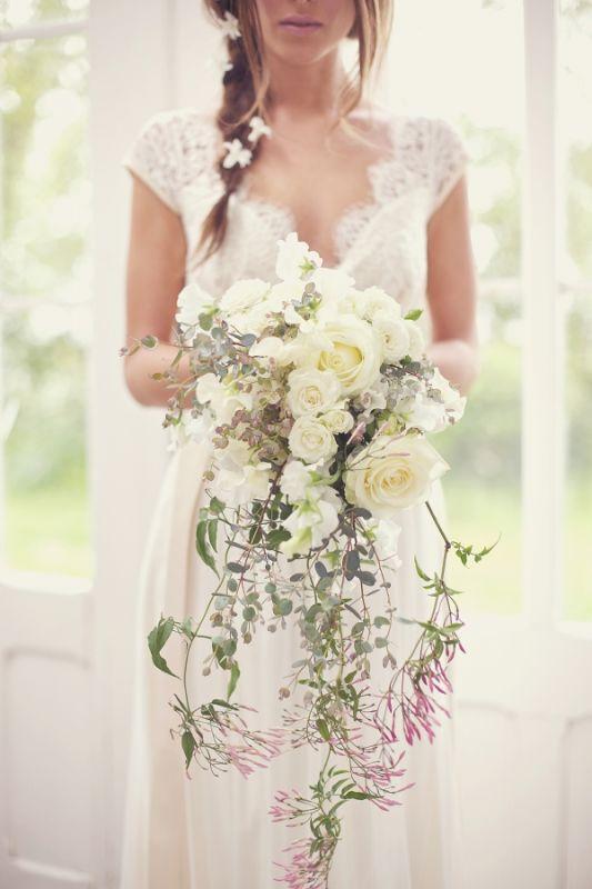 wedding lace dress cap sleeves romantic English Country Wedding Ideas