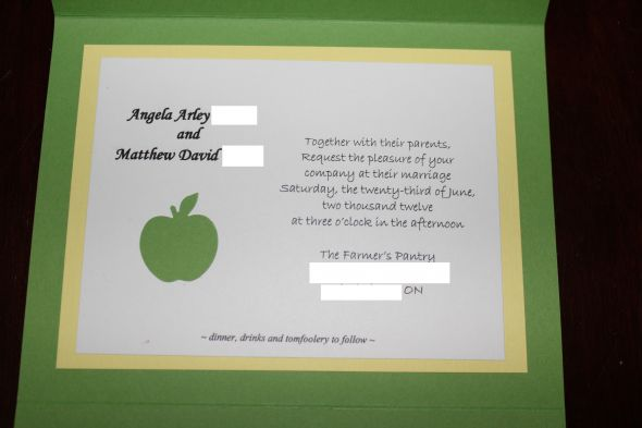 Invitations for an orchard wedding wedding invitations apple green ...