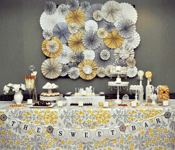 Paper Rosette Question!! :  wedding paper rosette diy Yellowandgray Desserttable 1
