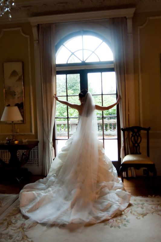 Tulle Ballgown With Fingertip Or Catherdral Veil Help Please