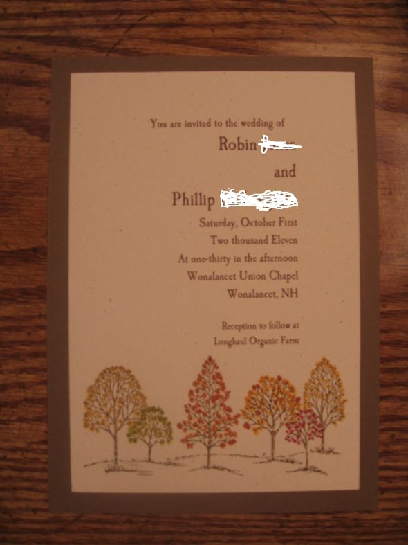 DIY Fall Wedding Invitations wedding fall invitation diy rubber stamp