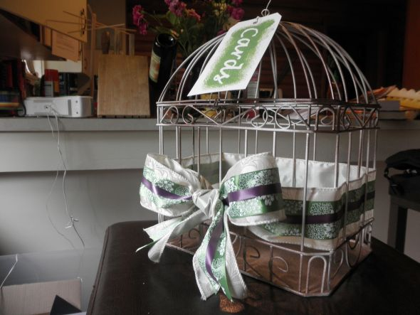 Birdcage Card Holder :  wedding birdcage card holder green purple diy reception P5070153