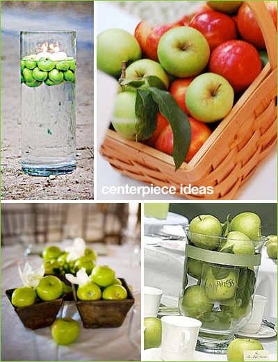wedding centerpieces wine bottles apples Ga1