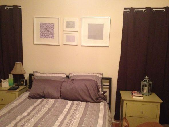 dark purple curtains gray white light purple striped quilt
