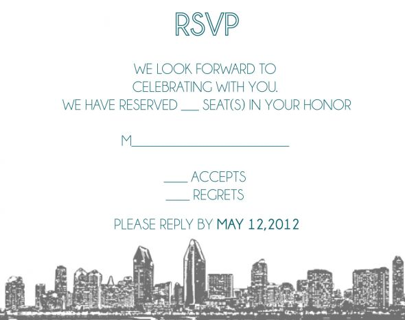 San Diego Skyline Modern Invitations :  wedding diy invitations modern skyline teal white JansenKeshka Invite Sent To Print 7