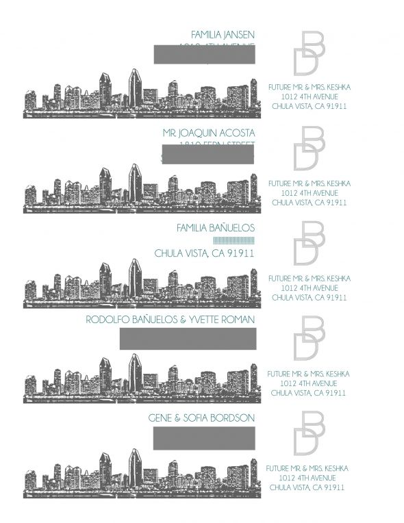 San Diego Skyline Modern Invitations :  wedding diy invitations modern skyline teal white Envelope Wrap Around 1