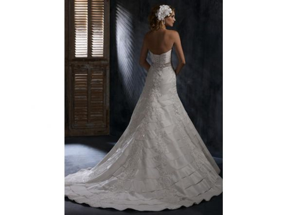 Fitted AlineStrapless Lace Maggie Sottero Designer Wedding Bridal