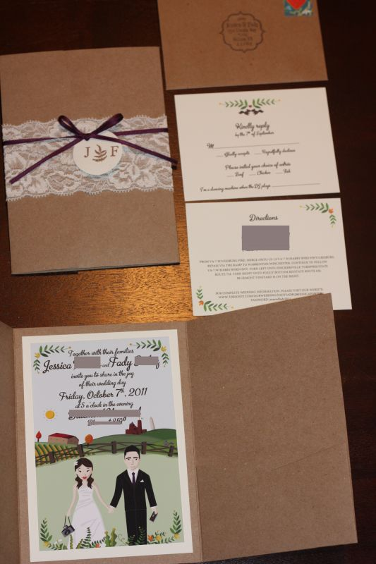 Our DIY Lace Wedding Invitations wedding lace eggplant plum cartoon belly