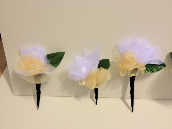 The Fabric Flower Boutineers are done!  Well, almost :)