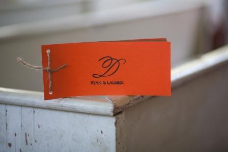 Rustic Wedding Program wedding orange ceremony Monogram Stamp