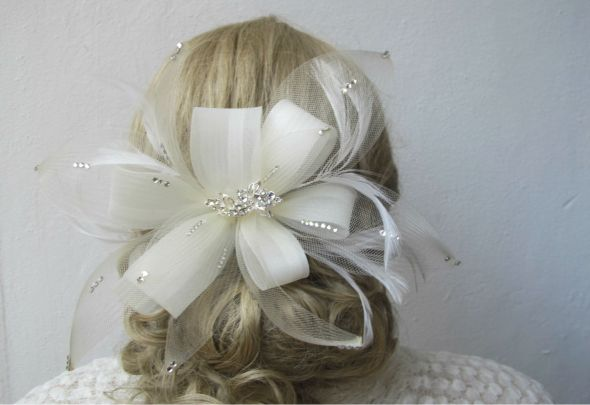 Bridal Belts Hair piece garter with rhinestone crystal wedding ivory