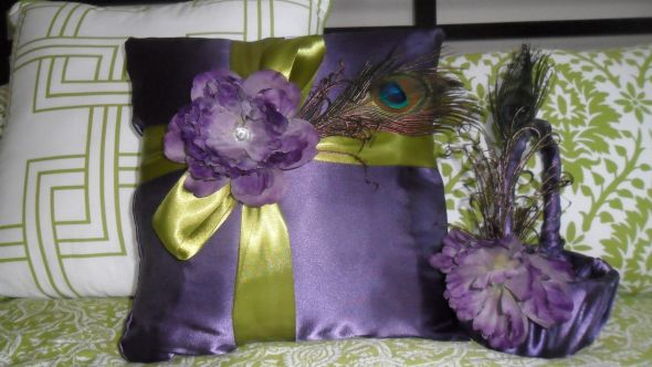 Peacock Pillow :  wedding ceremony diy green peacock purple vintage Pillow