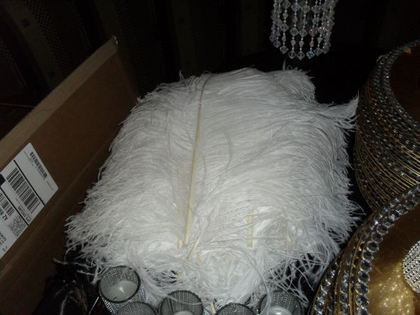 Crystal Chandelier & White Ostrich Feathers for sale!!!! :  wedding ceremony chandeliers crystals diy feathers head table ostrich reception white SDC11251