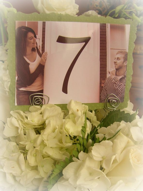 Table Numbers and Holders wedding photo table number holders green diy
