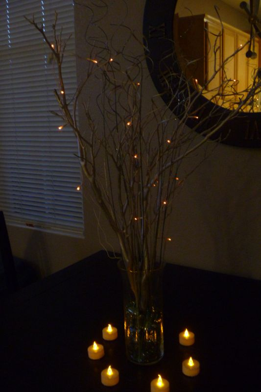 My 'under $10' DIY manzanita centerpieces