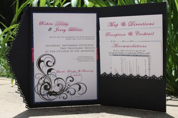 My completely DIY finished invitations :oD! :  wedding 2012 1 blue diy glitter invitations invites pink purple september stationary swirls InviteWB wedding diy invite invitations pink blue purple swirls september wedding paper black InviteWB