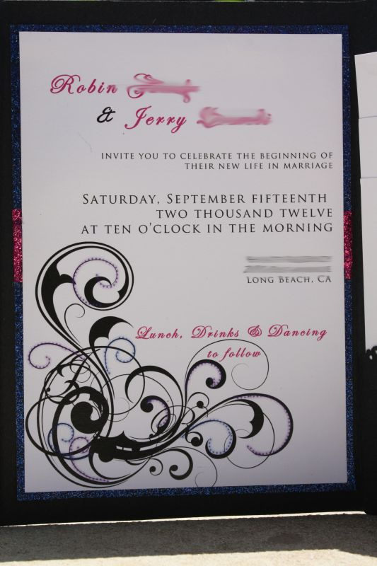 My completely DIY finished invitations :oD! :  wedding 2012 1 blue diy glitter invitations invites pink purple september stationary swirls InviteWB2 wedding diy invite invitations pink blue purple swirls september wedding paper black InviteWB2