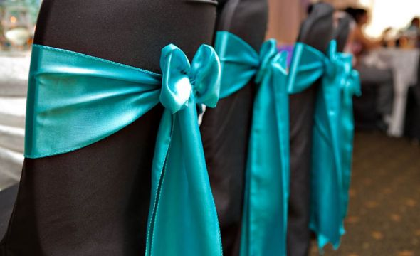 200 TURQUOISE SATIN CHAIR SASHES wedding tiffany blue sashes decor