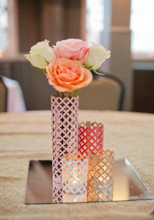 tin centerpieces wedding centerpiece votive holder tin diy gold pink