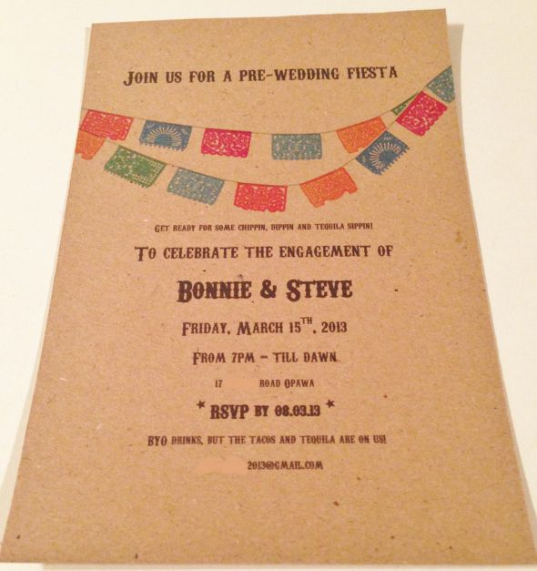Our mexican themed engagement invite