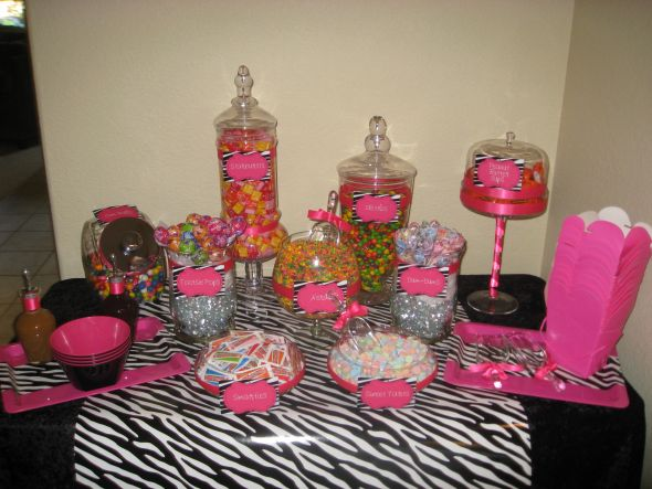 Pink & Zebra Print Candy Buffet :  wedding pink hot pink black zebra candy diy white IMG 9755