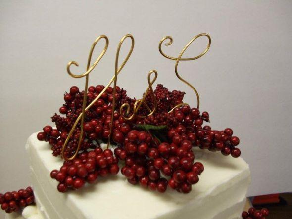 Monogram Cake Topper wedding monogram cake topper gold red cake Caketopper