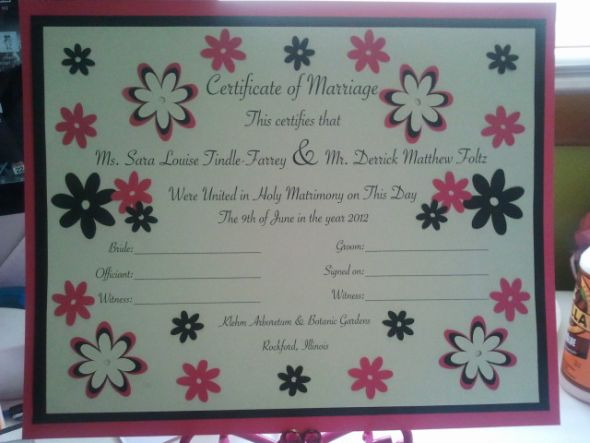 My pretty marriage certificate