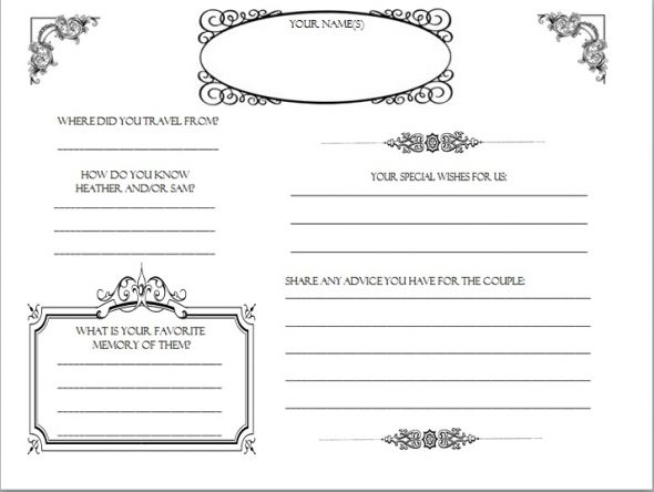 Printable Wedding Guest Book Templates
