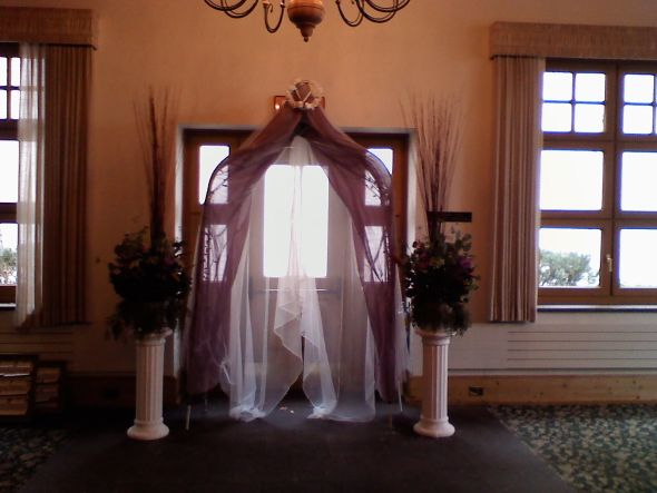 DIY Arch in Progress wedding arch altar purple white ceremony diy Arch At