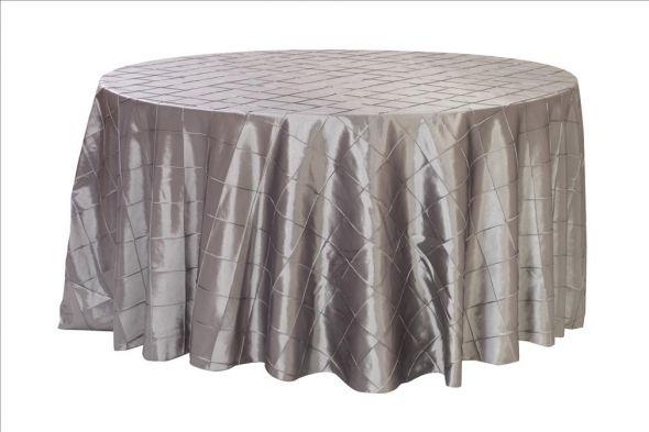 4 Pintuck Taffeta Tablecloth 132 Round Dark Silver Platinum wedding