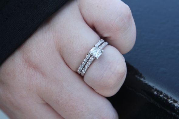 My wedding set! Princess solitaire with thin pave bands (new pics)