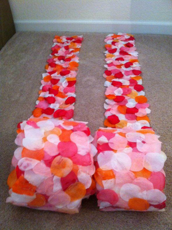 My orange and pink rose petal aisle runner wedding flower petals aisle