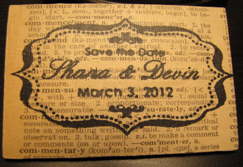 Save the Date for Vintage Book Themed Wedding :  wedding black diy invitations ivory save the date vintage book IMG 1451B