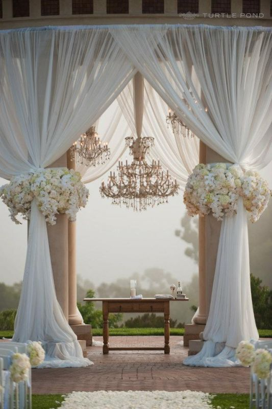 How to diy gazebo decor how do you even get fabric to stay up there if anyone has experienceease help i showed the florist this pic and she said it would cost about solutioingenieria Images