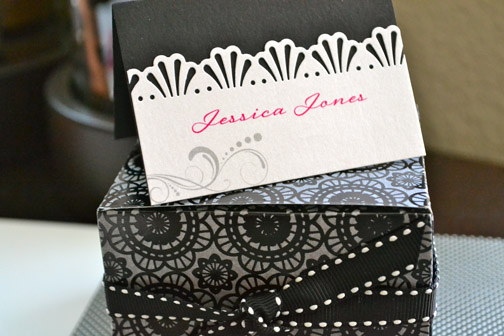 Hot pink and black handmade place card with die cuts wedding hot pink