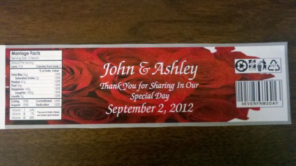 wedding roses water bottle labels red white silver 2011 08 31