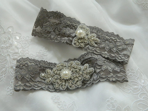 My garter set!!! :  wedding garter set grey lace accessories silver Il 570xN.306072115