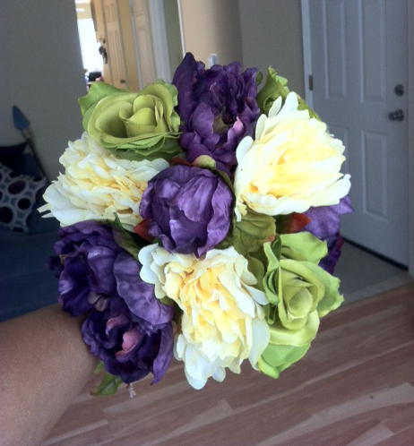 silk flowers for my bouquets purple green yellow pics