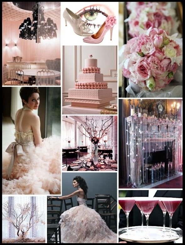 Light Pink And Black Wedding Theme Reception Imgarcade