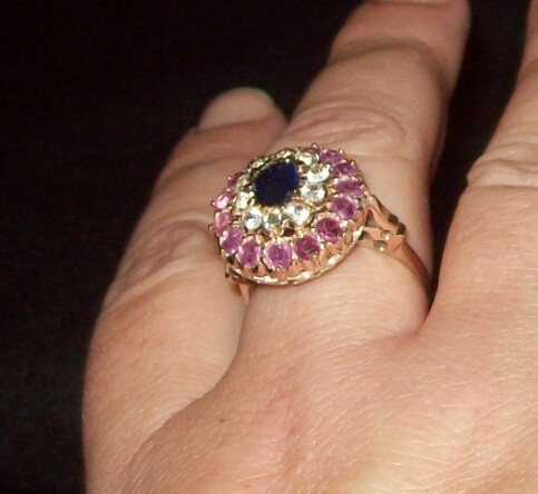 Grandmother's ring :  wedding gold jewelry navy pink ring 100 0484 2