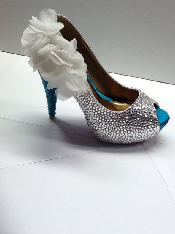 Swarovski Crystal Strassed Peep Toe Heels wedding teal white silver shoes