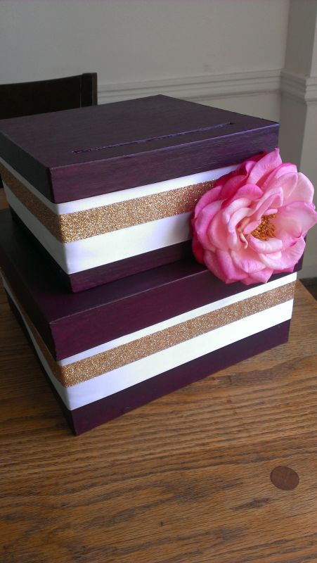 Painted card box with ribbon and real touch flower