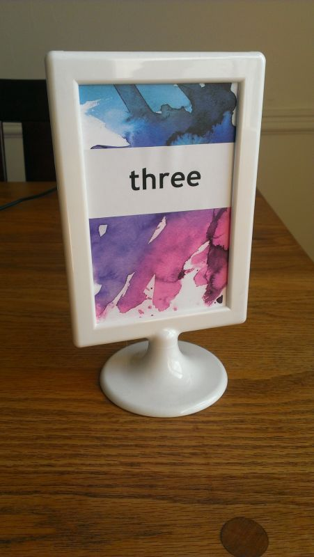 Table numbers made with extra invita
