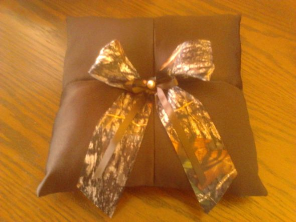ring bearer pillow I made for our fall/camo wedding