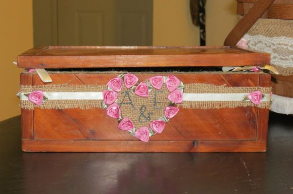 DIY Cardbox (simple) :  wedding burlap diy ivory lace pink Cannon Cam Pics 085