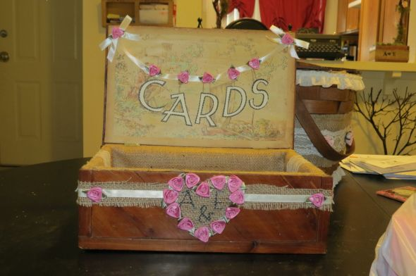 DIY Cardbox (simple) :  wedding burlap diy ivory lace pink Cannon Cam Pics 086