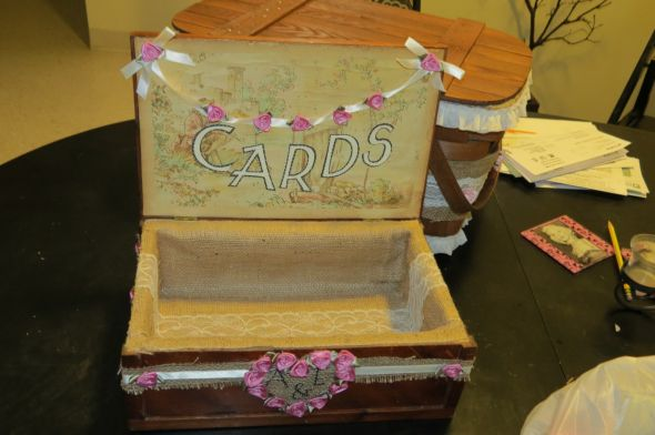 DIY Cardbox (simple) :  wedding burlap diy ivory lace pink Cannon Cam Pics 087