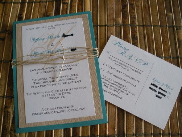 Teal Beach inspired Wedding Invitati